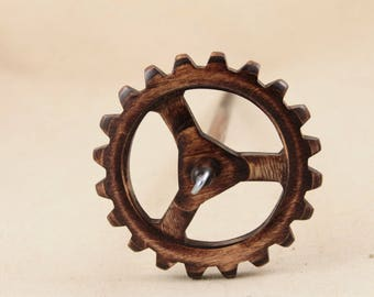 "Medium weight Steampunk Gear Top Whorl Drop Spindle 10"" shaft"