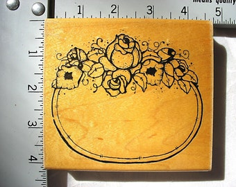 DOTS LG Rose Label Frame DESTASH Rubber Stamp, Rare used rubber stamp, vintage rubber stamp