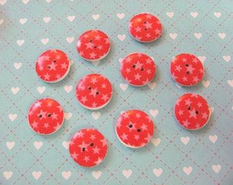 10 stars 17mm wooden buttons