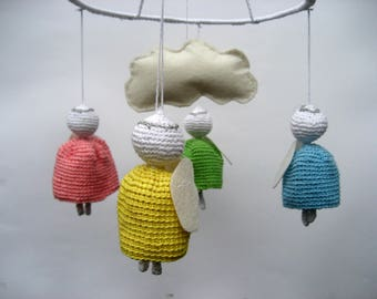 Baby mobile , Angel mobile, Ready to ship, angel decorations, nursery mobile,mobile for Nursery , crib mobile, baby shower gift