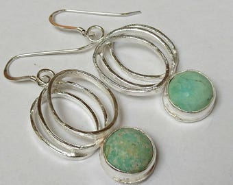 Sterling silver handmade oval link natural Arizona turquoise drop earrings, hallmarked in Edinburgh