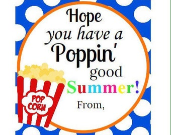 INSTANT DOWNLOAD-Blue Popcorn summer tag, end of school year gift tags, teacher tags end of school year, poppin good summer favor tag