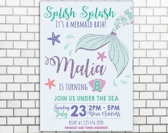 Mermaid Birthday Invitations, Mint Birthday Invitations, Underwater Themed Birthday Invitations, Underwater Party Invitations, Pastel Invite