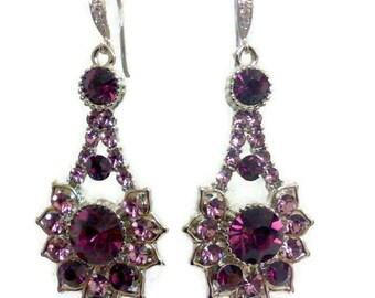 Purple Amethyst Bridal Earrings, Art Deco Wedding Jewelry, Gatsby Earrings, Geometric Earrings, Bridesmaid Earrings, Birthday Gift, RAYS