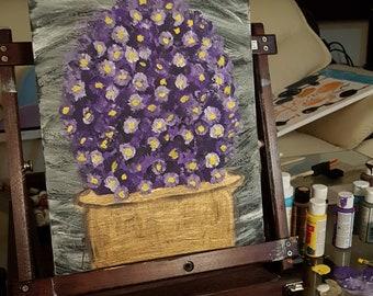 Purple flower gold pot