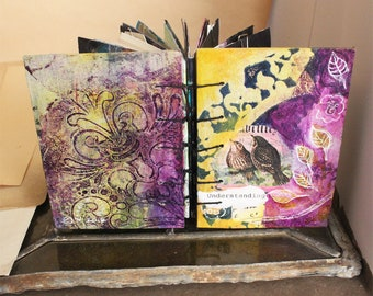 """One of a Kind  Little Hand Made   book Mixed Media Coptic Stitch Journal Hand Painted Paper Drawing Gel Prints """"Understanding"""""""
