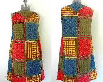 1960s Cotton Patchwork Sundress // Boho Sleeveless Handkerchief Dress