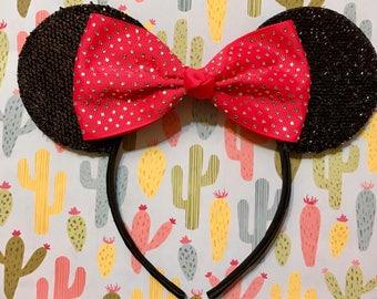 Cute Red Rhinestone Bow inspired Black Sparkle Minnie Mouse Headband Ears