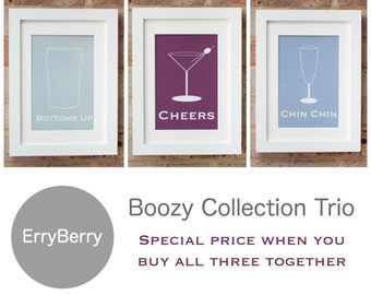 Boozy Collection Trio - Giclée Print