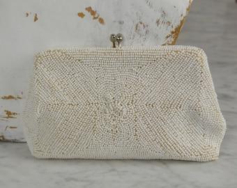 Prom Purse, Vintage Clutch, White Beaded Purse, Bridal Clutch, Vintage Bridal Purse, 1950s Clutch, White Evening Bag,