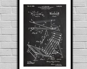 Beach Chair Patent, Beach Chair Poster, Beach Chair Blueprint,  Beach Chair Print, Beach Chair Art, Beach Chair Decor