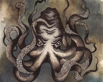 Octopus Illustration Art Print 03