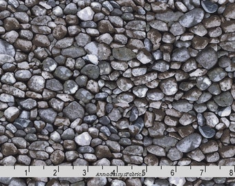 Rock Fabric, Timeless Treasures Nature C4981 Stone, River Rocks Landscape Fabric, Gravel Fabric, Landscape Quilt Fabric, Cotton
