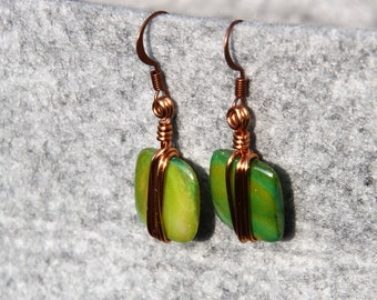 Green Porcelain Earrings
