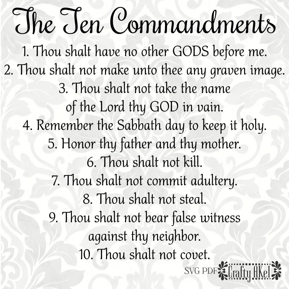 Printable List of the Ten Commandments
