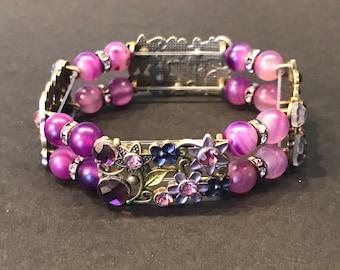 Rectangular Purple Filigree Flower Sliders with Purple Agate Beads and Brass Crystal Separators
