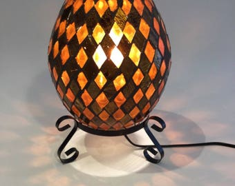 Beautiful lamp for office-bedroom - stained glass mosaic egg - coloured glass