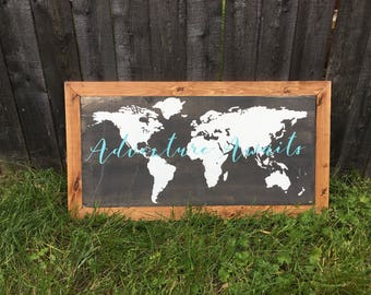 Adventure Awaits World Map - Wooden Framed Sign - nursery decor - little boys room - little girls room - living room decor - adventurer -