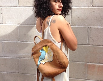 NICO MAZZA Painted Leather Backpack Reclining Nude