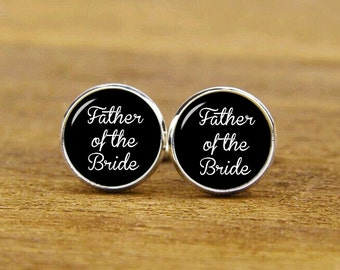 father of the bride cufflinks, custom personalized wedding cuff links, custom round or square cufflinks & tie clips, groom cufflink,dad gift