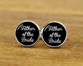 father of the bride cufflinks, custom personalized wedding cuff links, custom round or square cufflinks & tie clips, groom cufflink,dad gift