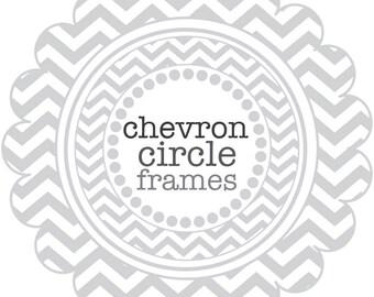 Circle Frames in Chevron - digital clip art - Gray