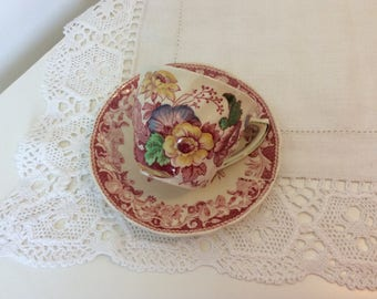 Vintage cup and saucer, Royal Doulton Pomeroy, small cup and saucer, vintage gift, vintage pottery,