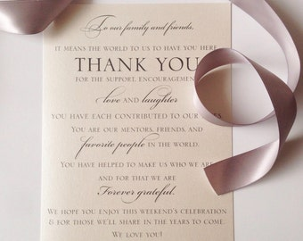 Wedding Welcome Thank You Card to Your Guests - To Our Family and Friends... {set of 50}