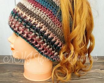 Ponytail hat, messy bun hat, crochet hat