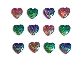 Heart Magnets + Tin / Scale Magnets / Iridescent Magnets / Fridge Magnets / Kawaii Magnets / Refrigerator Magnets / Mini Heart Magnets