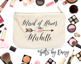Maid of Honor Makeup bag Makeup Storage, Cosmetic Bag, Wedding Party Cosmetic Bag Bridesmaid makeup Bag,custom gift, Maid of Honor gift c27
