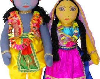 "Large Radha Krishna Doll set  21"" separate arms and legs"