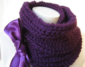 Purple Hand Knit Scarf, Knitted Coarse Scarf with Purple Satin Ribbon, Mother's day gift, Gift for Women, Knitting Accessories, Neckwarmer