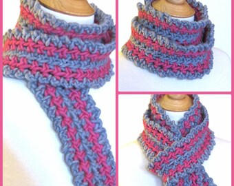 Crochet Scarf PATTERN - Fast / Easy PDF - Round the Loop Roving Stripes - Instant Download