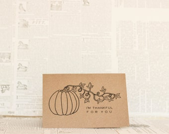 Thankful for You Thanksgiving Card: Brown Kraft Paper