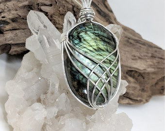 Handmade Sterling Silver Wire Wrapped High Flash Green Labradorite Pendant
