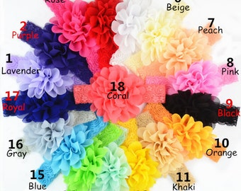Chiffon&Lace Baby headband, newborn headband, infant headband, photo prop, shabby flower headband, baby headband, baby bow, baby bow