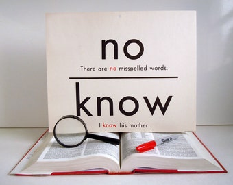 Vintage Giant Word Flashcard | No Know Great Grate Double Sided 11x14 Homonym Poster Flash Card