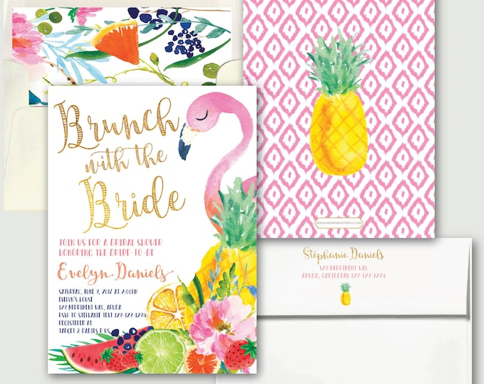 Brunch with the Bride Invitation / Tutti Frutti // Let's Flamingle // Fruit // Tropical // Flamingo // Pink // Pineapple // ARUBA COLLECTION