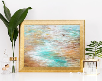 Digital Print - Tropical Abstract Painting - Instant Download - Contemporary Art Beach Home Decor - Abstract Ocean Painting - 9x12 Print