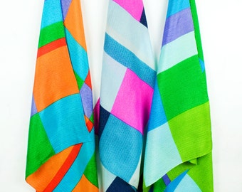 True Vintage Colorblock Silk  Scarf Italian 1960s 60s Mod Pop Graphic Colorblock Unworn NWOT Jackie O Boho