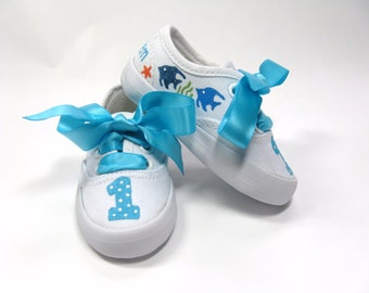 Fish Shoes, Starfish Sneakers, Ocean or Sea Theme Birthday Party, Hand Painted for Baby or Toddlers