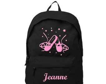 Backpack black ballet shoes personalized with name