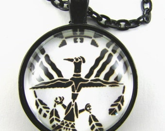Men's BIRD MAN TOTEM Necklace -- Native American art, Tribal totem, Symbol of insight & truth, Gift for him, First Nations art