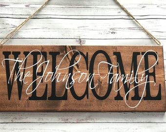 Welcome Sign for Front Door, Welcome Sign, Welcome sign for front porch, Welcome Sign for home, last Name Sign, Personalized Sign,