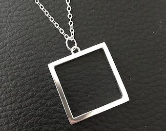 Square Silver Necklace - Geometric Chain Necklace