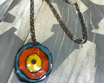 Kiln fired Enamel Poppy Necklace yellow, orange and blue