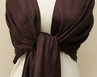 Pashmina in chocolate espresso brown, scarf, shawl, wrap, bridesmaids gifts with monogram