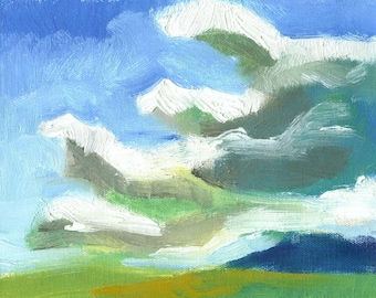 original painting oil landscape small canvas Cloud Study No. 1