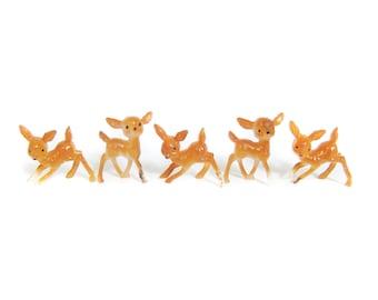 Miniature Plastic Deer Figurines, Set of 5 Retro Vintage Deer, Diorama Ornament Fairy Garden Figures, Egg Decorations, Terrarium Accessories